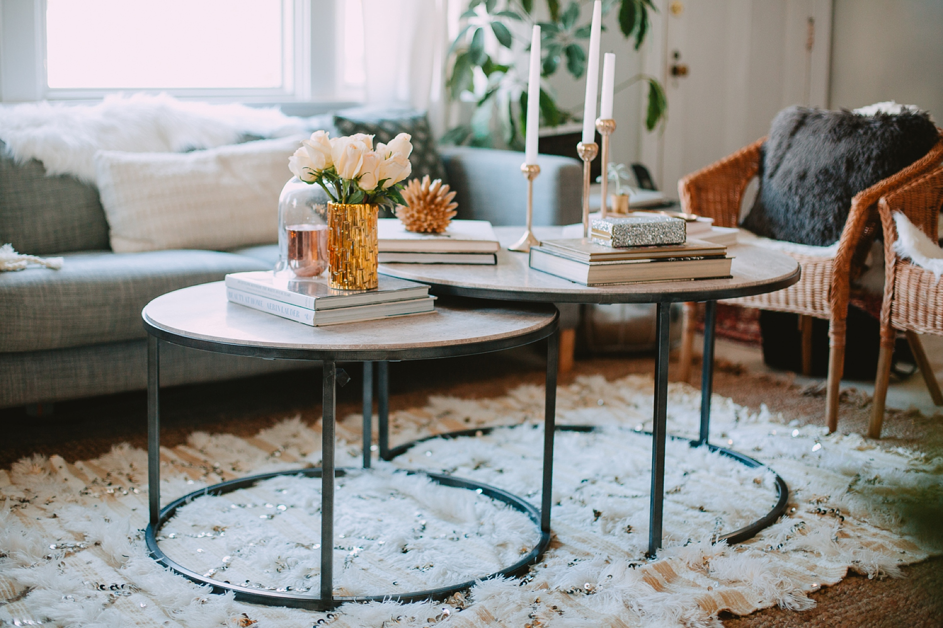Styled Winter Glam Coffee Table